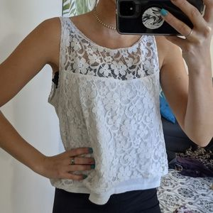 Hollister Floral Lace Tank Top scoop neck
